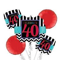 Celebrate 40th Birthday Balloon Bouquet 5pc