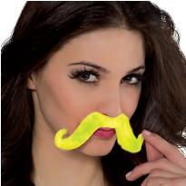 Black Light Neon Green Moustache