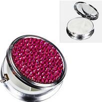 Round Pink Rhinestone Pill Box