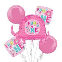 1st Birthday Balloon Bouquet 5pc - One Wild Girl