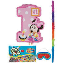 Pull String 1st Birthday Minnie Mouse Pinata Kit