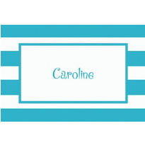 Caribbean Blue Cabana Stripe Custom Thank You Note