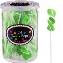 Twirly Kiwi Green Lollipops 24pc