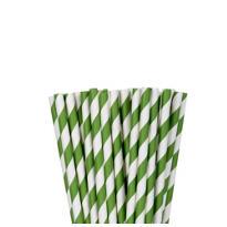 Kiwi Green Striped Paper Straws 24ct