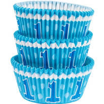 Blue 1st Birthday Baking Cups 75ct