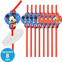 Mickey Mouse Straws with Lids 8ct