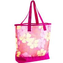 Pink Hibiscus Mesh Beach Tote Bag