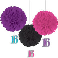 Celebrate Sweet 16 Fluffy Decorations 3ct