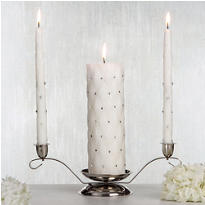 White Quilted Unity Candle Set 3pc