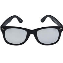 Matte Black Silver-Mirrored Sunglasses