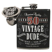 Vintage Dude 50th Birthday Flask