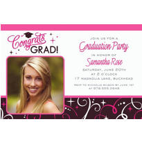 Custom Sparkling Grad Photo Invitations
