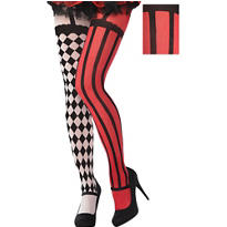 Red & White Mismatched Clown Tights - Freak Show