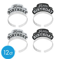 Glitter Black & White Happy Birthday Tiara Headbands 12ct