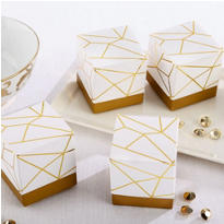 White & Gold Geometric Favor Boxes