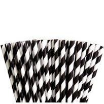 Black Striped Paper Straws 80ct