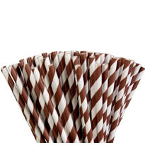 Chocolate Brown Striped Paper Straws 80ct