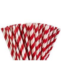 Red Striped Paper Straws 80ct