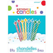Multicolor Star Spiral Birthday Candles 8ct
