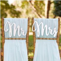 Silver Mr. & Mrs. Wedding Chair Signs