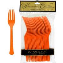 Orange Premium Plastic Forks 20ct