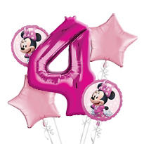 Minnie Mouse 4th Birthday Balloon Bouquet 5pc