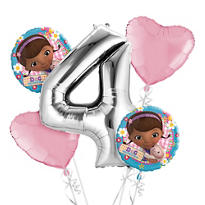 Doc McStuffins 4th Birthday Balloon Bouquet 5pc