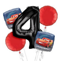 Cars 4th Birthday Balloon Bouquet 5pc