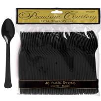 Black Premium Plastic Spoons 48ct