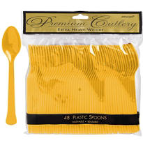 Sunshine Yellow Premium Plastic Spoons 48ct