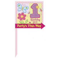 Hugs & Stitches Girl's 1st Birthday Yard Sign 14in x 16in