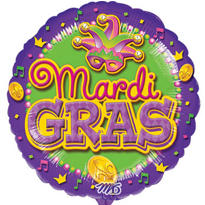 Mardi Gras Balloon 18in