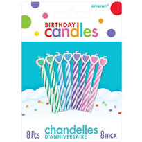 Pastel Spiral Birthday Candles with Heart 2in 8ct