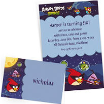 Custom Angry Birds Space Invitations & Thank You Notes