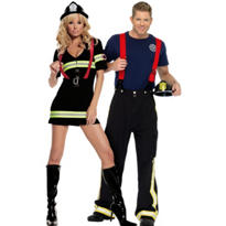 Ms. Blazin' Hot Firefighter and Fireman Couples Costumes
