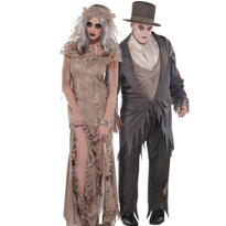 Antique Zombie Bride and Groom Couples Costumes