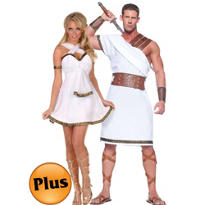 Plus Size Greek Warrior and Goddess Couples Costumes