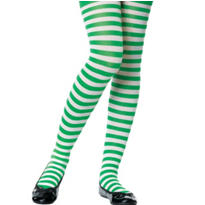 Child Green and White Striped Tights