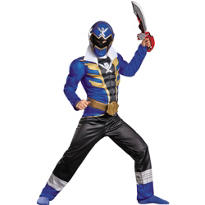 Boys Blue Ranger Muscle Costume - Power Rangers Super Megaforce