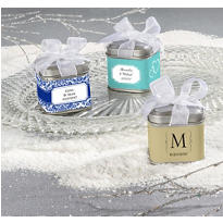 Personalized Wedding Favor Tins with Bows <br>(Printed Label)</br>