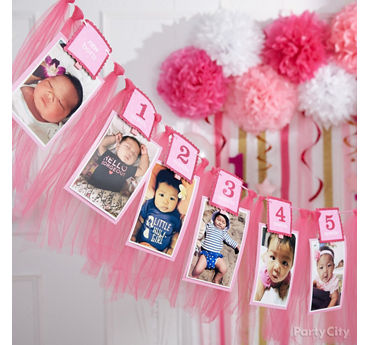 Pink First Birthday Photo Garland Idea
