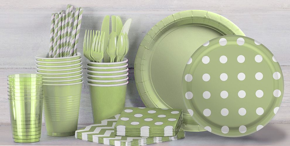 Leaf Green Polka Dot and Chevron Tableware
