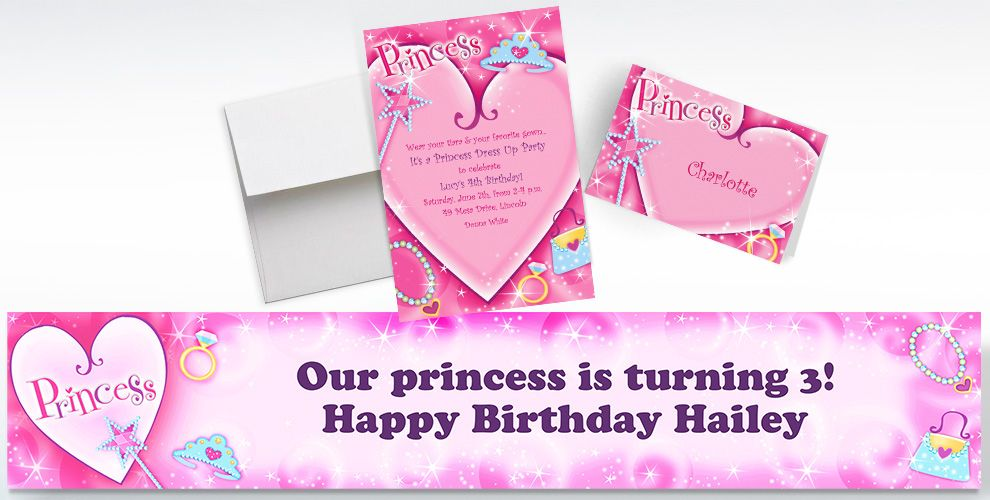 Custom Princess Invitations, Thank You Notes and Banners