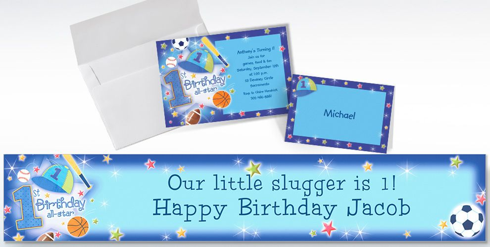Custom All-Star 1st Birthday Invitations and Thank You Notes