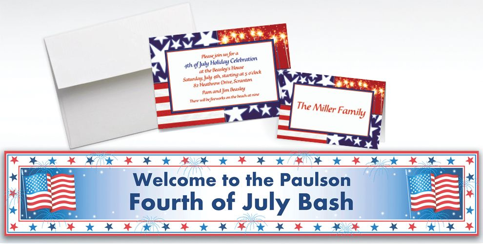 Custom Star Spangled Banner Patriotic Invitations and Thank You Notes