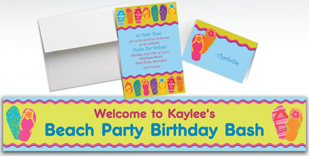 Custom Flip Flop Summer Invitations and Thank You Notes