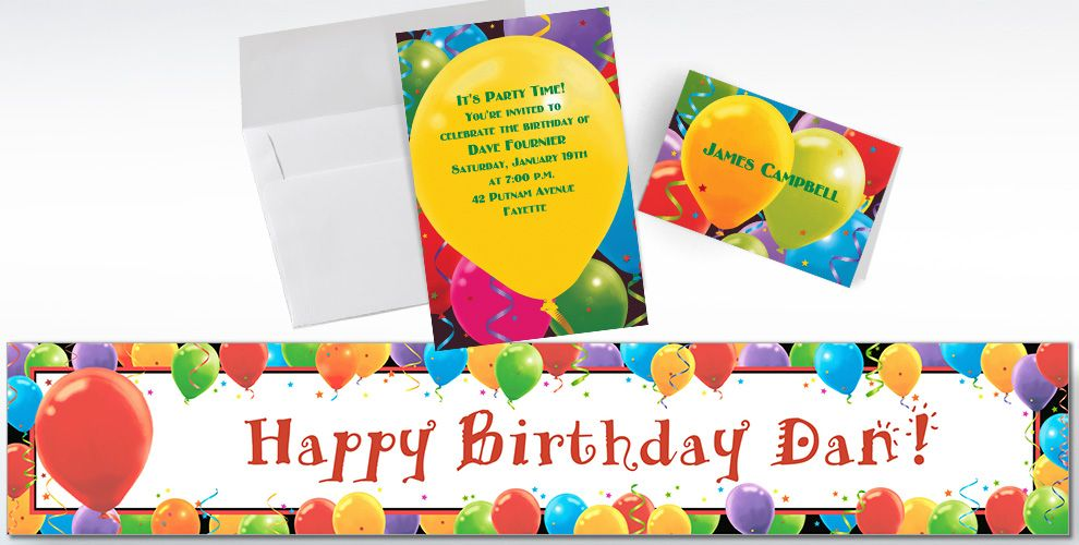 Custom Balloon Celebration Birthday Invitations and Thank You Notes