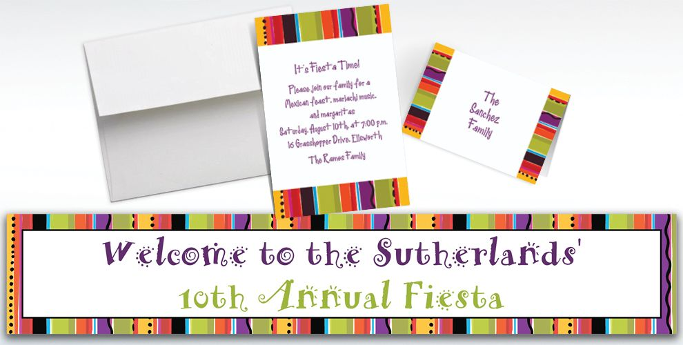 Custom Fiesta Stripe Invitations and Thank You Notes