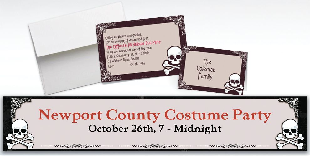Custom Midnight Dreary Halloween Invitations and Thank You Notes