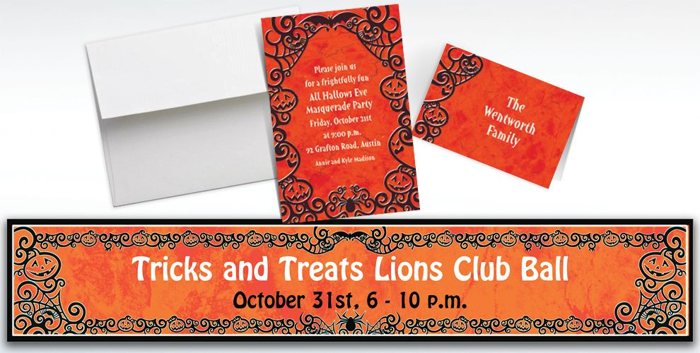 Custom Gothic Greetings Halloween Invitations and Thank You Notes